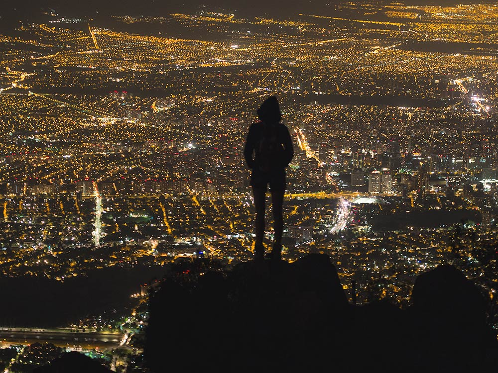 Santiago night city view from Manquehue mountain- Hiking Santiago