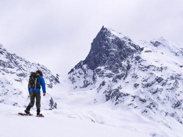 Nicolás hiking on snow near Morales Lagoon.